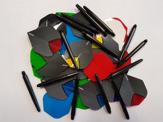 10 sets (30 stuks) Skylight/poly dartflights plus 5 sets (15 stuks) dartshafts - dartflight - dartshaft - multipack