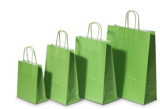 Draagtassen Papier Groen 18+8x22cm Kraft Papier 90 grams (50 stuks)