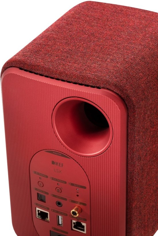 KEF LSX wireless stereo systeem Rood