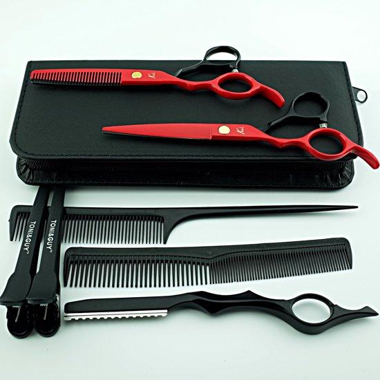 Kappersschaar Set Rood Zwart 6.0 inch + Styling razor - linkshandig 8 delig