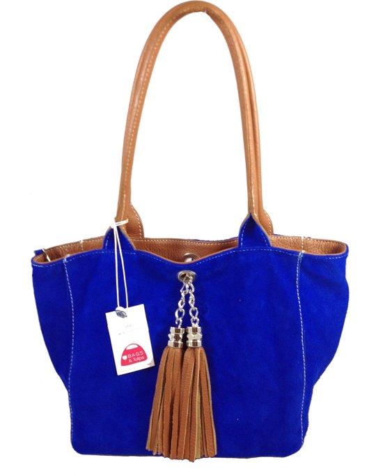 Bags and Tulips omkeerbare Schoudertas Famke leersuede cognaccobalt blauw