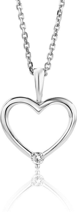 Majestine 9 Karaat Collier Witgoudkleurig (375) Hart met Diamant 0.02ct – Ketting 45cm