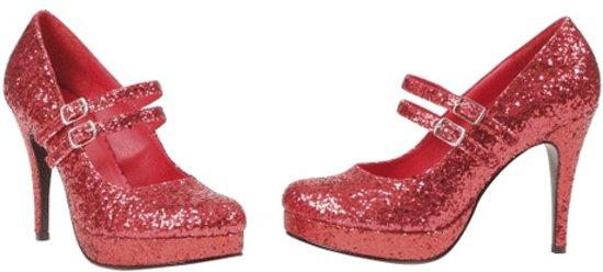 Rode glitter pumps 40