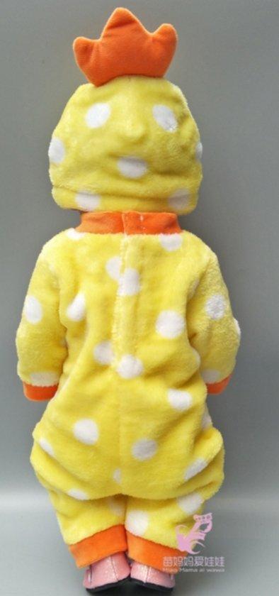 Poppenkleertjes | Geschikt voor Baby Born | Eend onesie | Geel  | Met muts