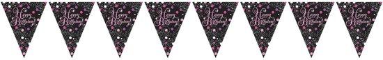 Slinger Happy Birthday Roze Glitter - 4 Meter