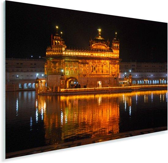 De Gouden Tempel prachtig verlicht in de avond Plexiglas 30x20 cm - klein - Foto print op Glas (Plexiglas wanddecoratie)