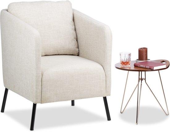 Jaren 50 Stoel : Bol.com relaxdays fauteuil vintage wit beige met kussen