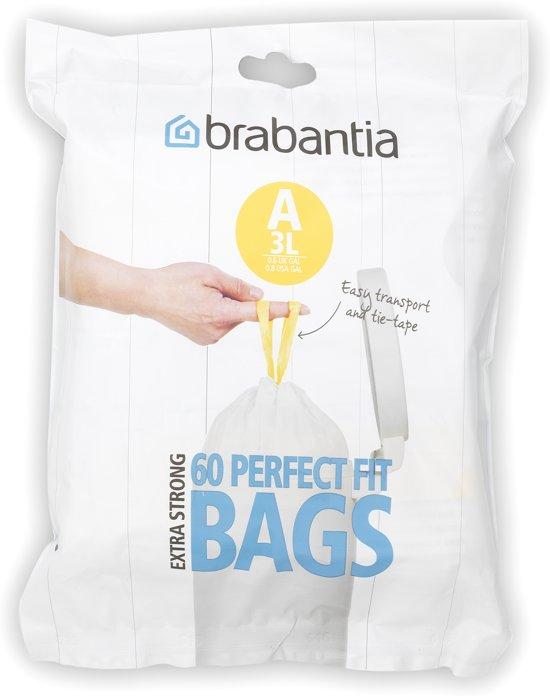 Brabantia Vuilniszakken 45 Liter.Brabantia Perfect Fit Afvalzakken 3 L Code A 60 Stuks