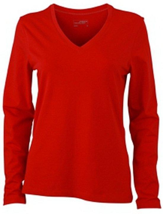 3a640e7d537 Rood dames v-hals shirt lange mouw L