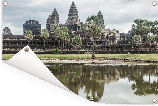 Angkor Wat gereflecteerd in het water Tuinposter 90x60 cm - Tuindoek / Buitencanvas / Schilderijen voor buiten (tuin decoratie)