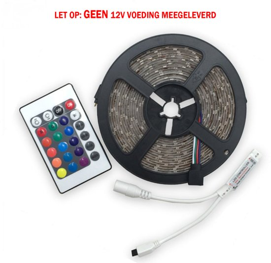 Merkloos Led strip 5m RGB - Incl. afstandbediening met dimmer.