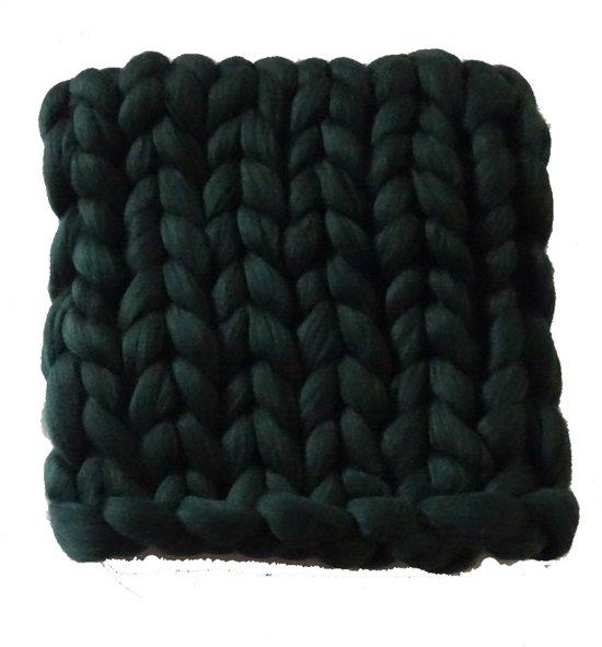 DONKERGROEN 100 x 100 cm - Wollen deken / babydekentje / kleed XXL merino wol