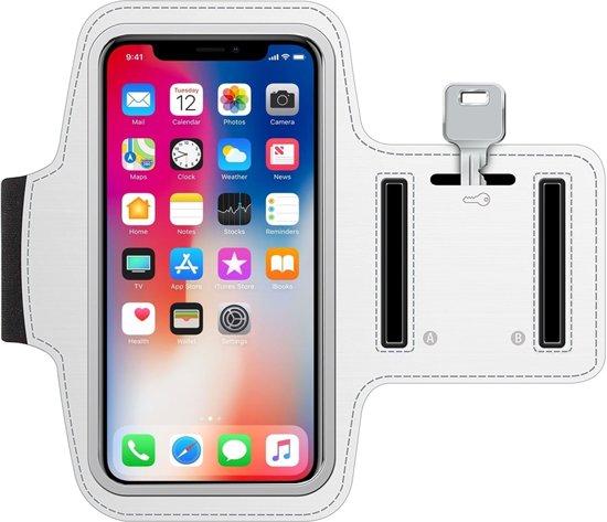 MMOBIEL Sport / Hardloop armband (WIT) voor iPhone XS / XR / X / 8 / 7 / 6S / 6 Spatwatervrij, Reflecterend, Neopreen, Comfortabel, Verstelbaar, Koptelefoon Aansluitruimte en Sleutelhouder!