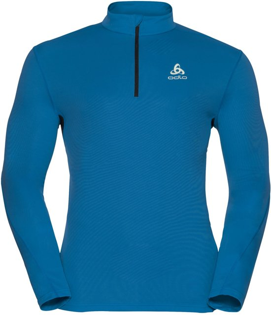 ODLO Sliq 1/2 Zip Midlayer Heren - Mykonos Blue/Black