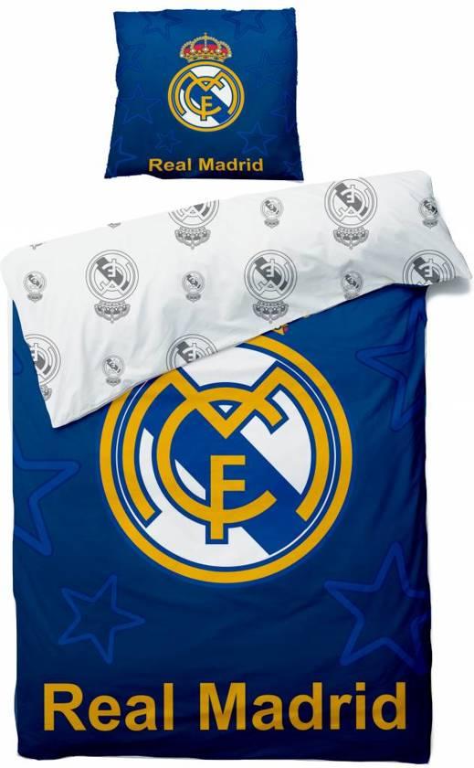 Real Madrid - Dekbedovertrek - Eenpersoons - 140x200 cm + 1 kussensloop 63x63 cm - Blauw