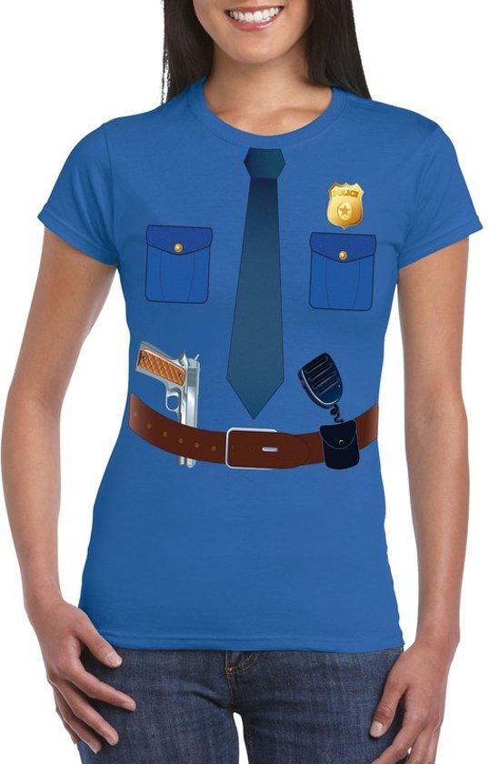 Politie uniform kostuum t-shirt blauw voor dames XS