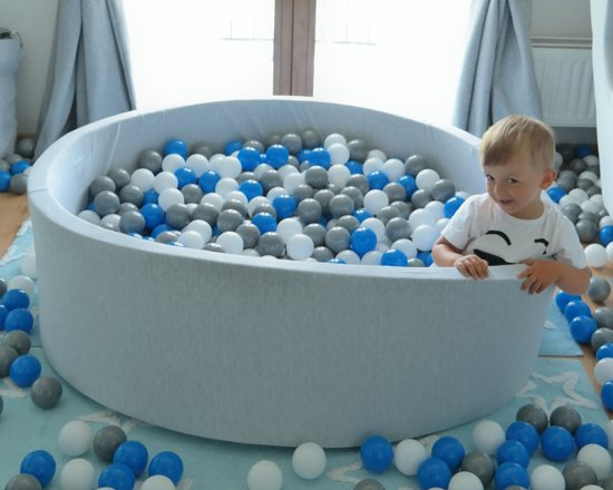 Zachte Jersey baby kinderen Ballenbak met 600 ballen, diameter 125 cm - wit, grijs, turkoois