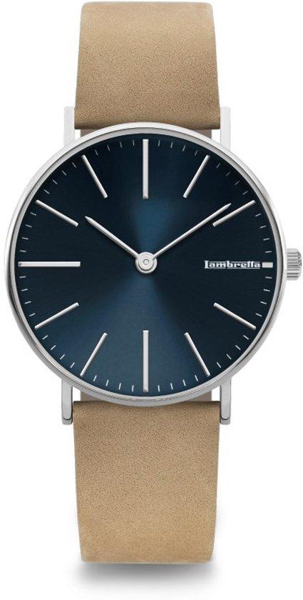 Lambretta Cesare blauw - horloge - 42 mm - suede
