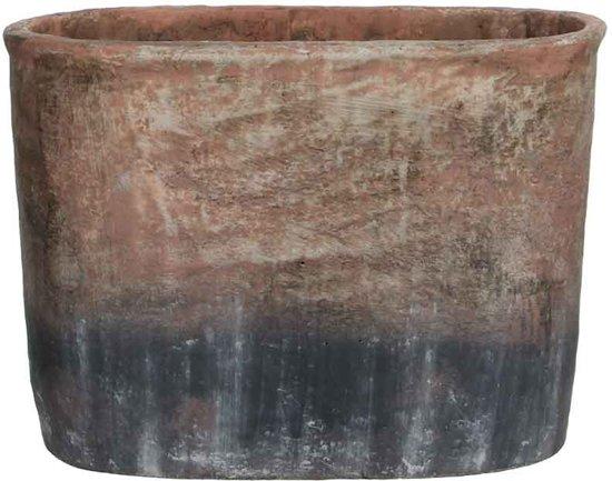 Mica Decorations Lucas ovalen pot grijs maat in cm: 35,5 x 18 x 25,5