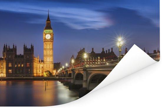 Kleurrijke wolkenformatie boven de Big Ben in Londen Poster 120x80 cm - Foto print op Poster (wanddecoratie woonkamer / slaapkamer)