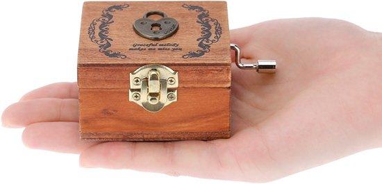 Afbeelding van Retro houten muziekdoosje muziek doos Cadeau speelgoed