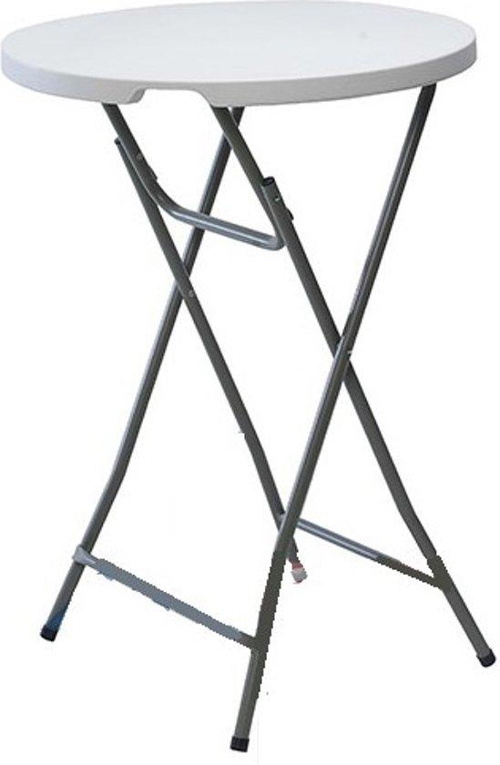 Statafel Wit Grijs.Opklapbare Statafel Wit Blad Grijs Metalen Onderstel 80 X 110 Cm