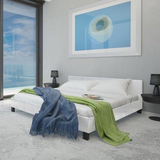 bol vidaxl kunstleren bed met traagschuim matras 140 cm wit