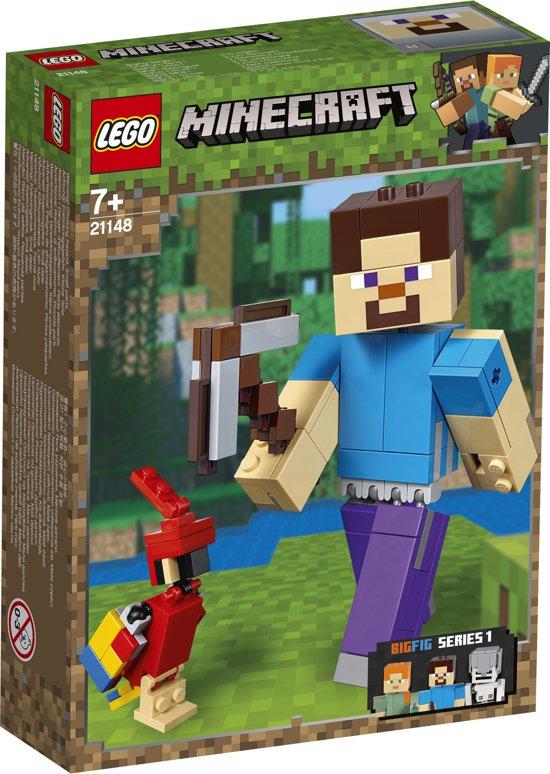 LEGO Minecraft BigFig Steve met Papegaai - 21148