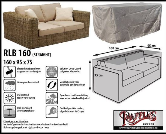 Raffles Covers RLB160 Tuinmeubelhoes loungebank 160 x 95 H: 75 cm taupe.