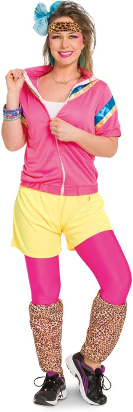 80's Trainingspak Vrouw 3-delig- Verkleedkleding - Maat S/M