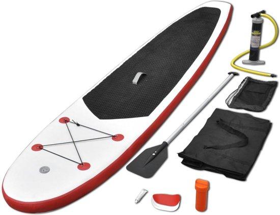 vidaXL Stand up paddle board opblaasbaar met accessoires rood en wit