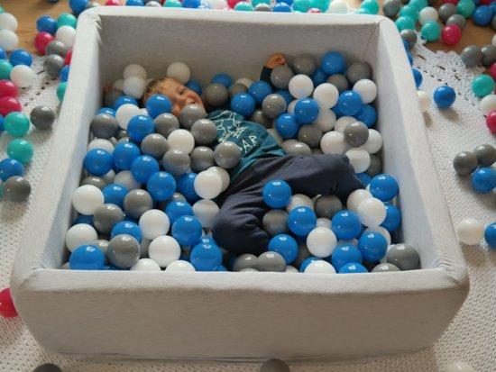 Zachte Jersey baby kinderen Ballenbak met 450 ballen, 90x90 cm - wit, grijs, turkoois