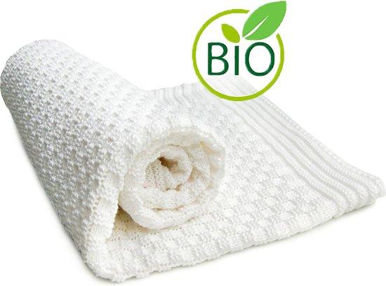 Wallaboo Babydeken Eden - Wiegdeken in 100% biologisch Katoen - 70 x 90 cm - Wit