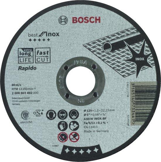 Doorslijpschijf recht Best for Inox - Rapido A 60 W INOX BF, 125 mm, 22,23 mm, 1,0 mm 1st