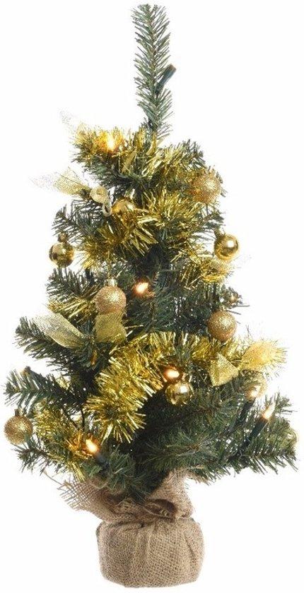 bol.com | Kerstboompje groen/goud met verlichting 60 cm