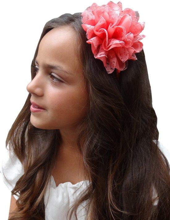 Jessidress Haar Diadeem met grote Haarbloemen van 12 cm Meisjes Haarband - Roze