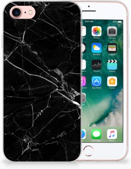 Apple iPhone 7 Uniek TPU Hoesje Marmer Zwart in Nafraiture