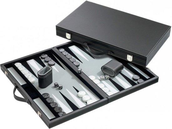 Philos Backgammon grijs groot - synthetisch leer - 46,5 x 28 cm