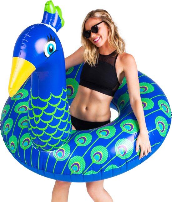 Pauw Pool Float -  Peacock Pool Float – Big Mouth grote opblaas zwemband -  122 cm.