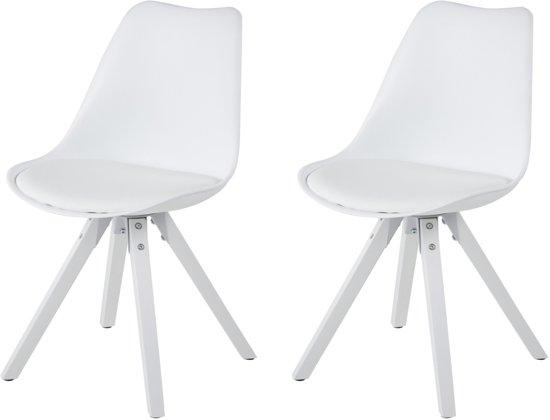 Witte Houten Eetkamerstoelen.24designs Stoel Dex Witte Zitting Witte Houten Poten Set Van 2