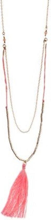Orelia ketting lang met kwast - goudkleurig - 74cm