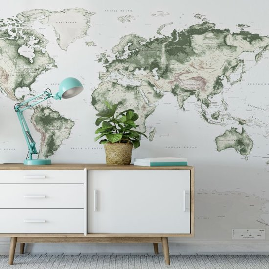 Fotobehang Wereldkaart 480x300 cm - topkwaliteit vliesbehang - wereldkaart behang