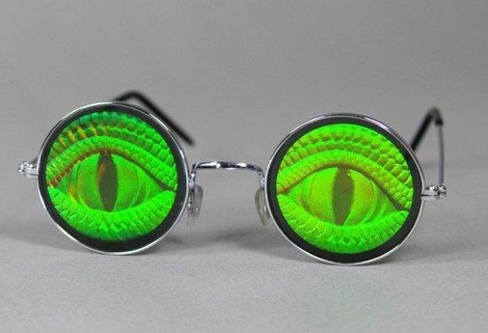 01411dc709fe4a Holografische bril met reptiel ogen