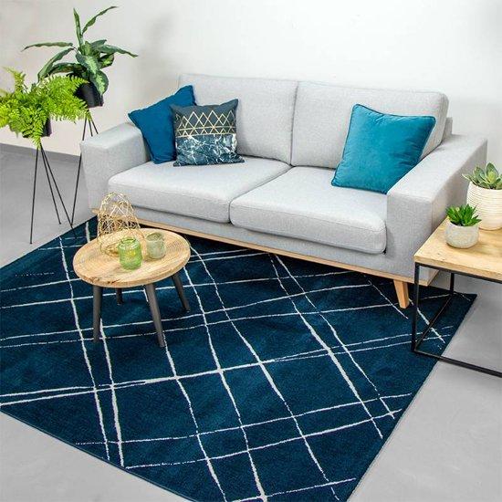 Vloerkleed Ambiance - Skretch Blauw Wit 200x290cm