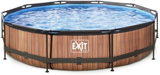 EXIT Wood zwembad ø360x76cm met filterpomp - bruin