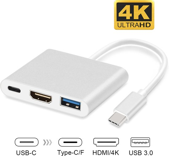 USB-C adapter voor Macbook met USB, HDMI, USB-C