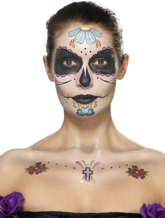 Bolcom Day Of The Dead Face Tattoo Transfers Kit Multi Coloured