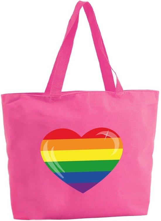Regenboog hart shopper tas - fuchsia roze - 47 x 34 x 12,5 cm - boodschappentas / strandtas