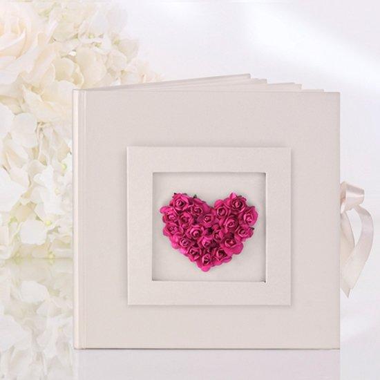 Gastenboek hart Fuchsia Valentinaa