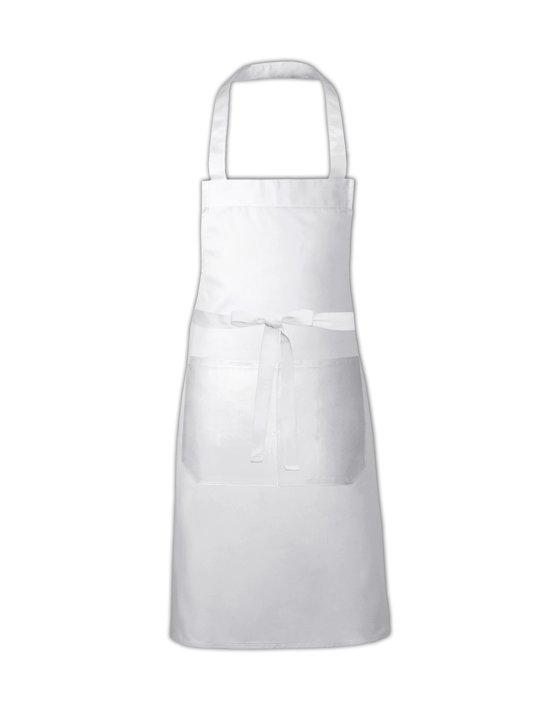 Link Kitchenwear Hobbyschort met handige zak in de kleur Wit, afmetingen 80x73cm.